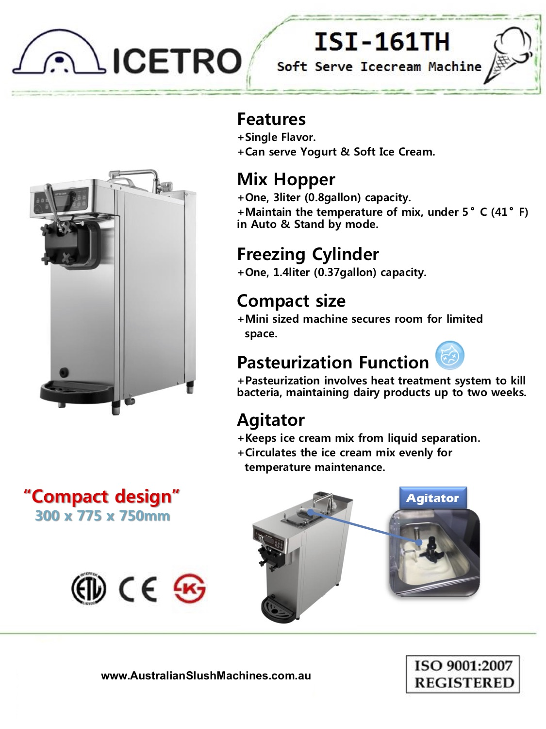 Compact Space Saving Ice Cream Machine